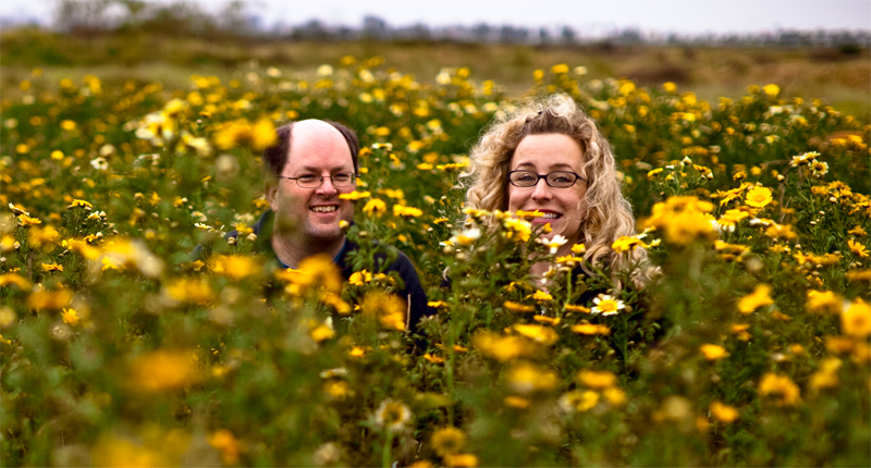 Eric and Liz on Fiesta Island during the wild flower blooming, San Diego, California